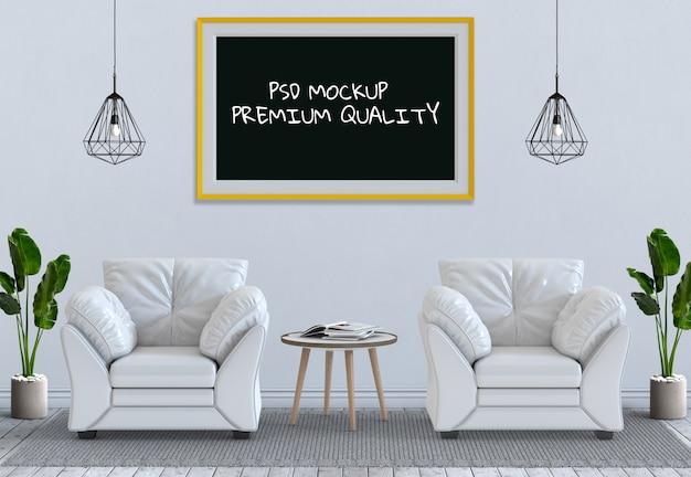 インテリアリビングルームとソファの3dフレームレンダリングポスター Premium Psd