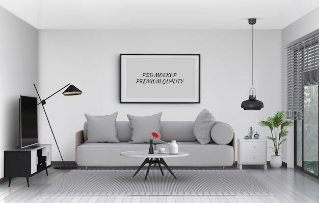 Макет кадр-афишу во внутренней гостиной и диван, 3d визуализации Premium Psd