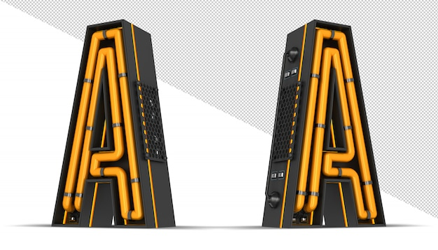 Алфавит неоновый свет 3d-рендеринга Premium Psd