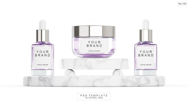 Фиолетовый косметический продукт с мраморным камнем. 3d визуализация Premium Psd