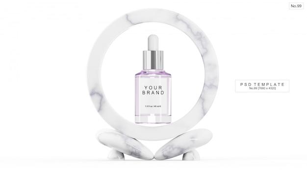 Фиолетовая сыворотка с мраморным камнем. 3d визуализация Premium Psd