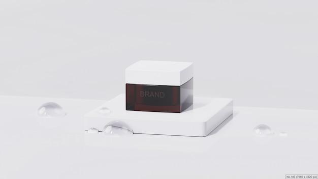 Продукт красоты на белом подиуме с пузырем воды. 3d визуализация Premium Psd