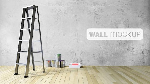 Макет 3ds глухой стены и инструменты для рисования Premium Psd