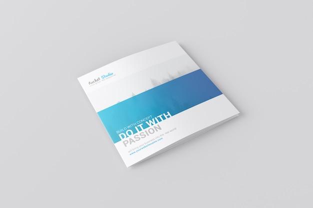 4-fold brochure mockup - square Premium Psd