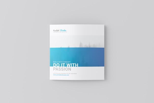 4つ折りパンフレットモックアップ - 正方形 Premium Psd