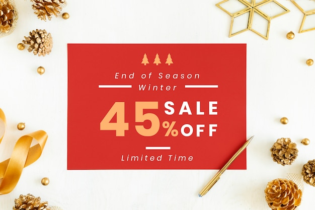 45% christmas sale sign mockup Free Psd