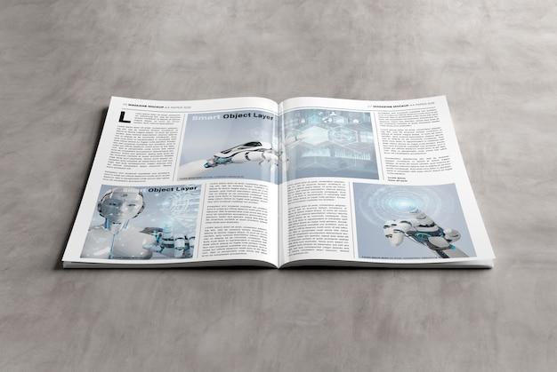 Пустой макет журнала а4 на бетонной поверхности Premium Psd