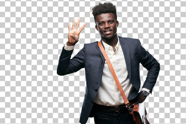 若い黒の実業家は、笑顔と満足して幸せを見て、指で4番を数える。 Premium Psd