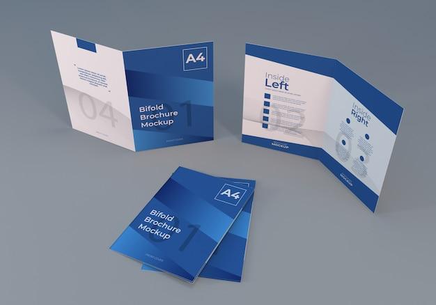Реалистичный макет брошюры формата а4 с серым Premium Psd