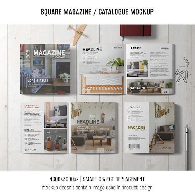 4つの正方形の雑誌またはカタログモックアップ 無料 Psd
