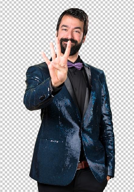 ハンサムな男、スパンコールジャケット4枚 Premium Psd