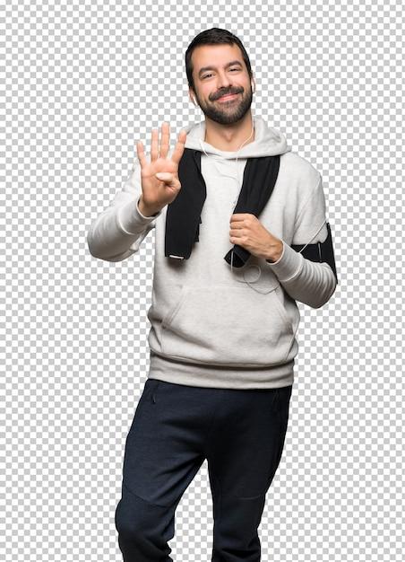 スポーツマン幸せと4本の指で数える Premium Psd