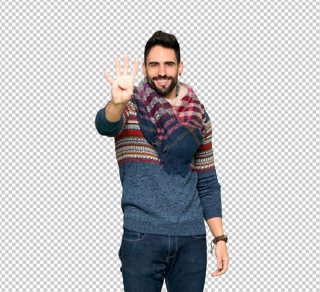 ヒッピー男幸せと4本の指で数える Premium Psd