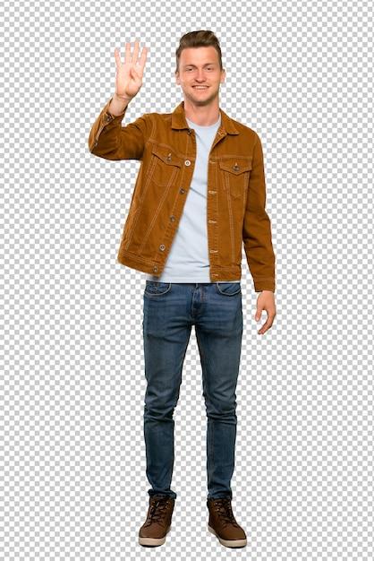 金髪のハンサムな男幸せと4本の指で数える Premium Psd