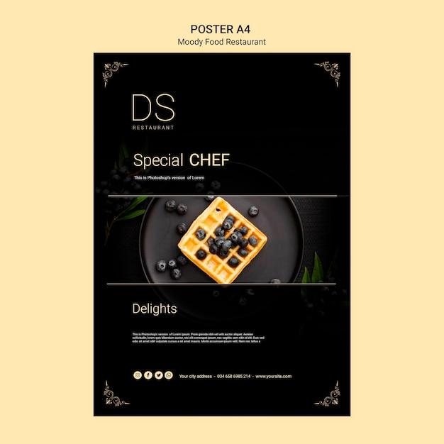 Шаблон плаката а4 ресторана муди фуд Бесплатные Psd