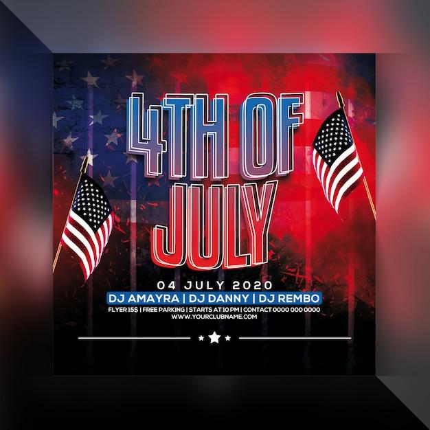 4 июля флаер вечеринки Premium Psd