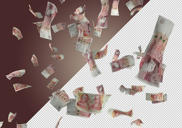 50 pounds money rain - hundreds of 50 pounds falling from the top Premium Psd