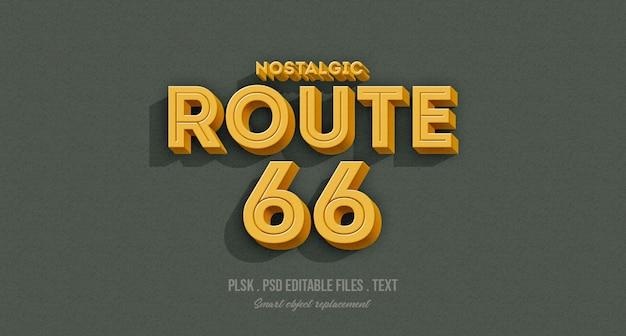 ノスタルジックなルート66 3dテキストスタイルエフェクトモックアップ Premium Psd