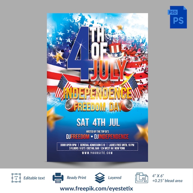 7月4日の独立記念日の自由の日のフォトショップのテンプレート Premium Psd