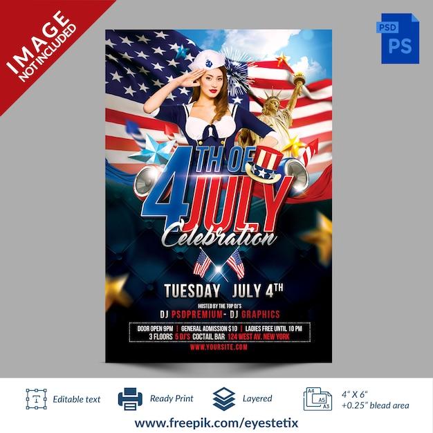 7月のお祝いパーティーのチラシphotoshopテンプレートのアメリカ第4回 Premium Psd