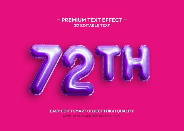 72 th шаблон 3d текстового эффекта Premium Psd