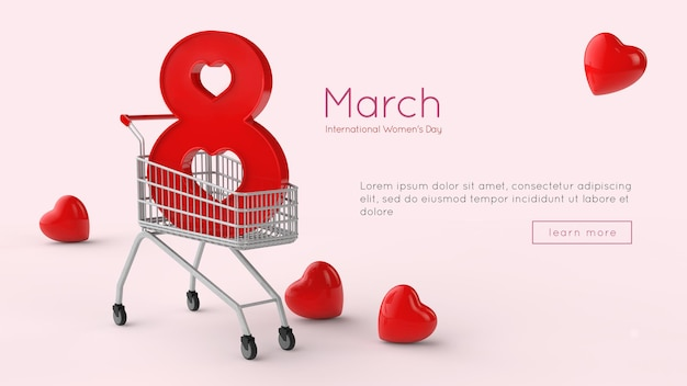 8 march international women day 3d rendering template Premium Psd