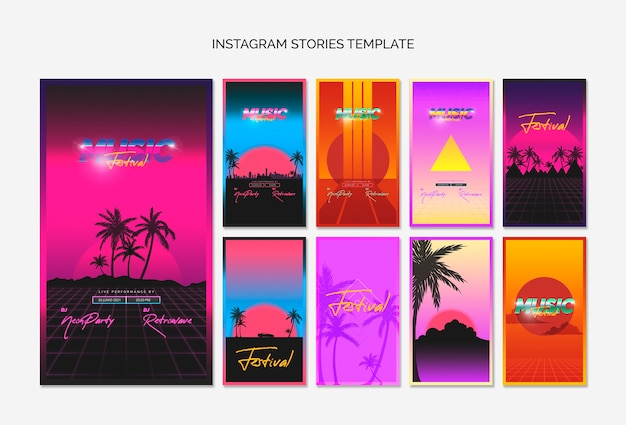 80年代の音楽祭のためのinstagramの物語テンプレートコレクション 無料 Psd