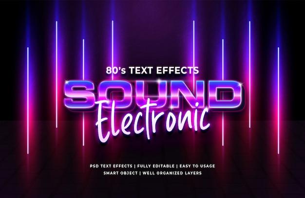 サウンドエレクトロニック80年代のレトロなテキスト効果 Premium Psd