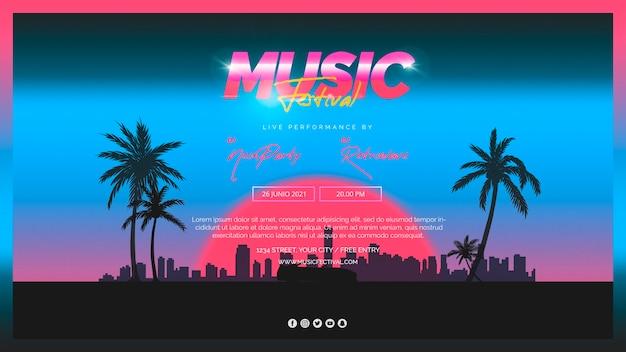 Шаблон веб-баннера для музыкального фестиваля 80-х годов Бесплатные Psd
