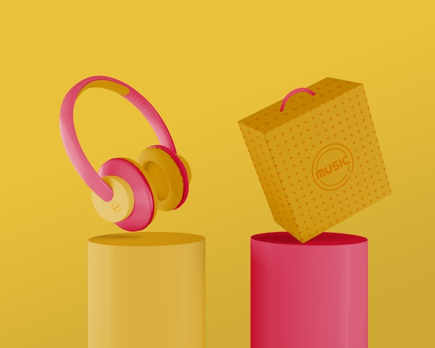 80s headphones set with yellow background Free Psd