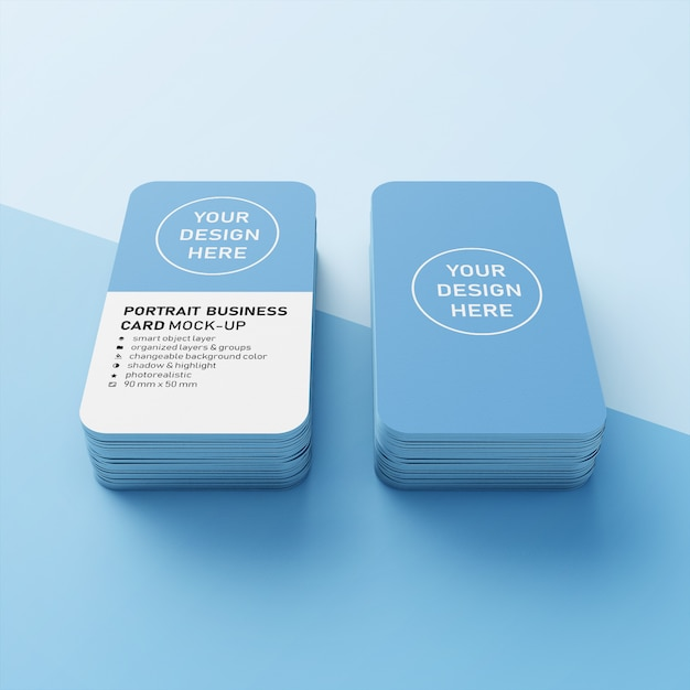 Две стопки реалистичной вертикальной визитной карточки 90х50 мм с закругленными углами. Premium Psd