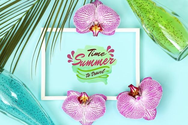 ヤシの葉を持つ夏熱帯モックアップフレーム Premium Psd