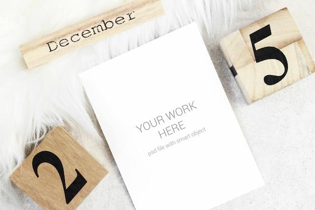 Рождественская открытка с деревянным календарем Premium Psd