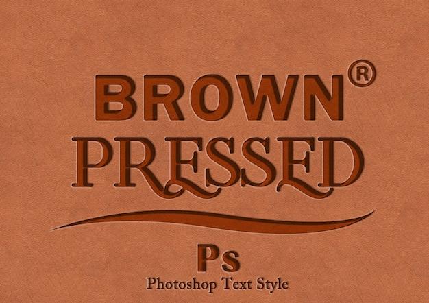 Коричневый эффект печати текста Premium Psd