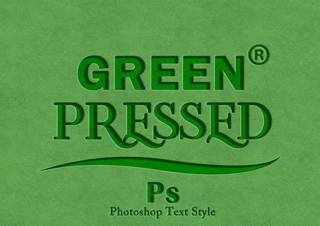 Зеленый стиль текста Premium Psd