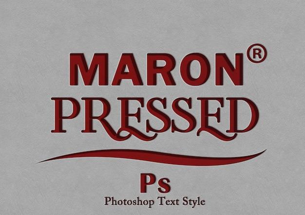 Марон пресс стиль текста эффект Premium Psd