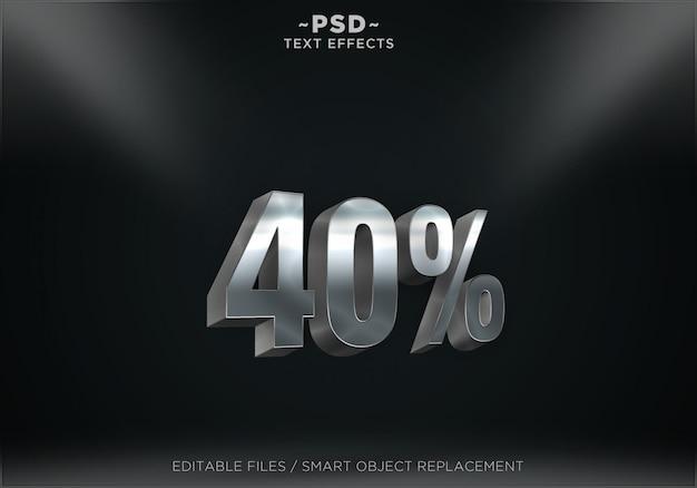 割引シルバーテキスト効果 Premium Psd