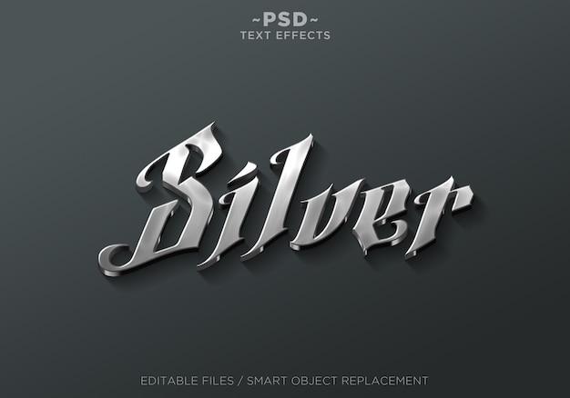 シルバー効果の編集可能なテキスト Premium Psd