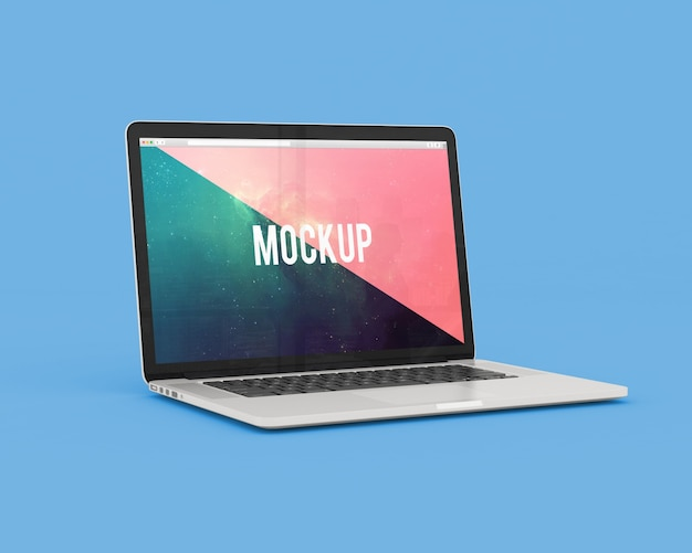青い背景のノートパソコンは、モックアップ 無料 Psd