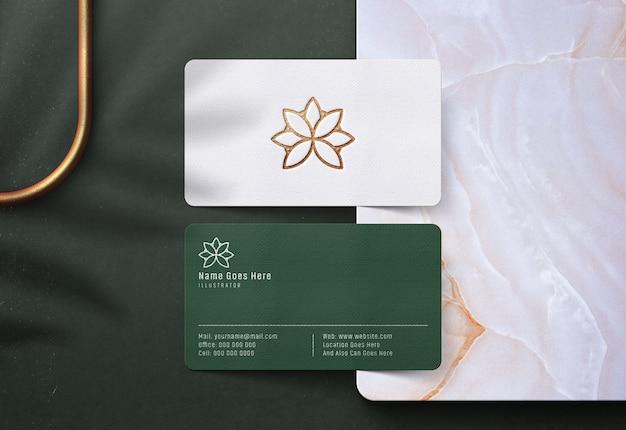 Роскошный логотип макет на визитке Premium Psd