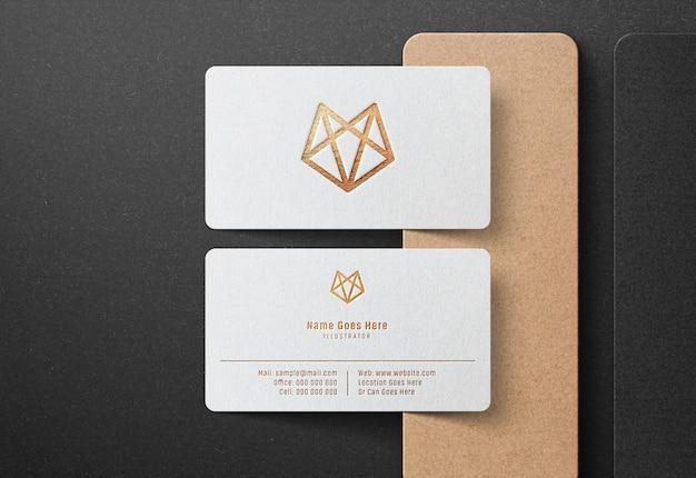白のビジネスカードの高級ロゴモックアップ Premium Psd