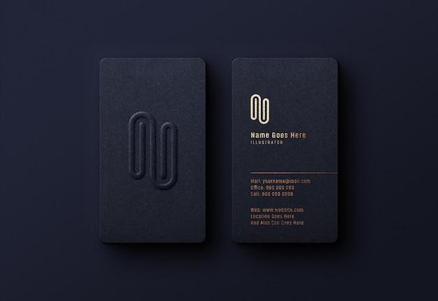 Роскошный логотип макет на темной визитке Premium Psd