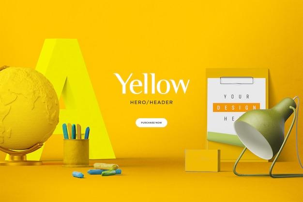 Пользовательская сцена в заголовке желтого героя Premium Psd