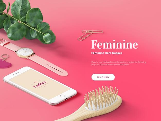 Розовая женская сцена героя / заголовка Premium Psd