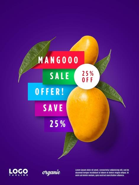 マンゴー広告フローティングバナー Premium Psd