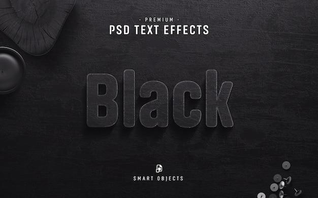 Черный текстовый эффект Premium Psd
