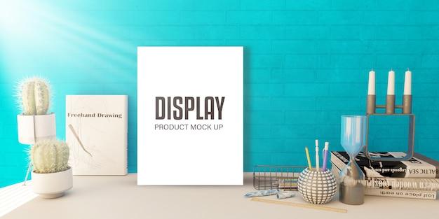 棚に空白の写真が表示されたモックアップの編集可能な製品ディスプレイ 無料 Psd