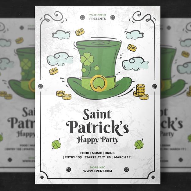 Белый макет плаката для дня святого патрика Premium Psd