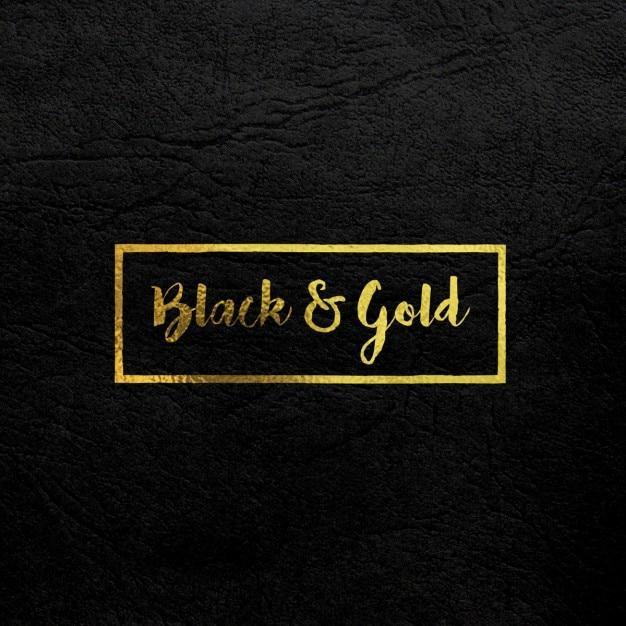 Золото логотип на макете черная кожа Бесплатные Psd