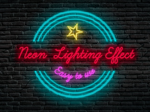 フォトショップのネオン照明効果 無料 Psd